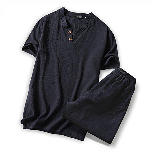 (オリマート)ORI-MART スウェット Vネック 半袖 Tシャツ 麻 無地 ストリート系 カジュアル シャツ メンズ (4XL(日本サイズ3L相当), ブラック-上下セット)