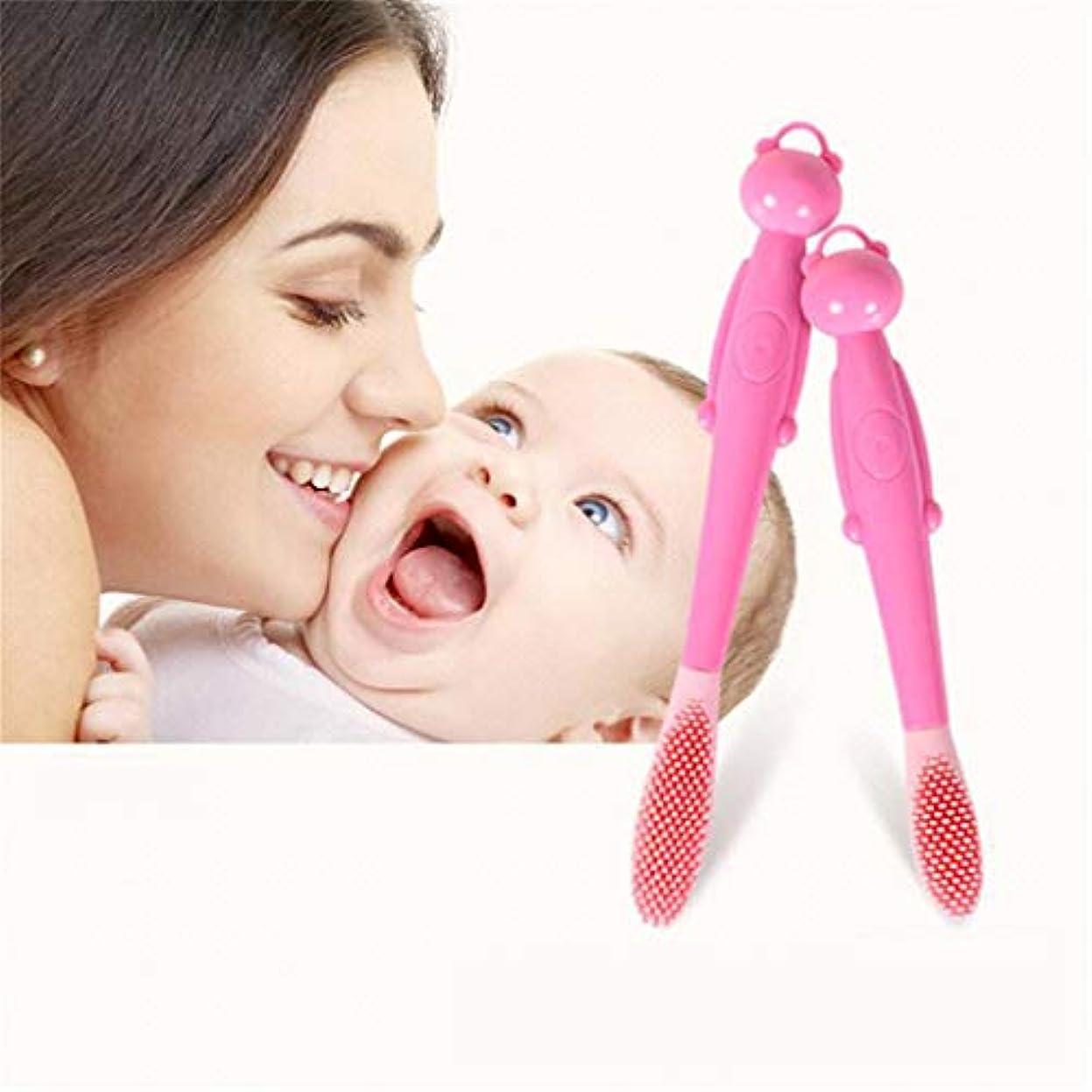埋める折る酔っ払いJIOLK ベビー幼児シリコーンソフト歯ブラシ ベビー歯ブラシ 0-1-2-3歳 子供用ミルク歯ブラシ