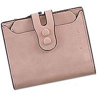 財布 女性のための財布ショートセクションスリー折りたたみバックルマルチカードレトロファッション財布 レジャー財布 ( Color : ピンク )
