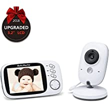 "EMEBAY - Video Baby Monitor Wireless Audio Monitor with Camera 3.2"" LCD Baby Alarm Built-in Lullabies Night Vision Temperature Monitoring 2 Way Talk / IR Night Vision / Temperature Monitor / 8 Lullabies / Big LCD Display (3.2"" LCD Video Baby Monitor)"