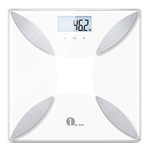 1byone 体組成計 スマート体重計 ヘルスメーター 体重 / 体脂肪率 / 体水分率 / 推定骨量 / 筋肉量 / カロリー / BMI測定可能 体脂肪計 強化ガラス製 簡単設定 健康管理用