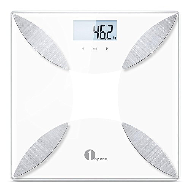 1byone 体組成計 スマート体重計 ヘルスメーター 体重/体脂肪率/体水分率/推定骨量/筋肉量/カロリー/BMI測定可能 体脂肪計 強化ガラス製 簡単設定 健康管理用