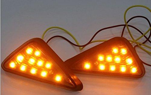 LED ウインカー バイク 汎用 高輝度三角タイプ 左右セット ブラックタイプ