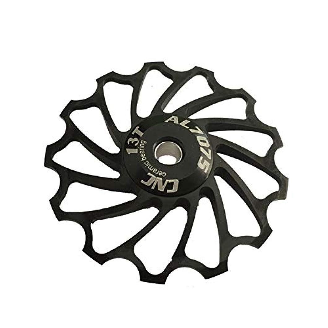 不和親指許されるPropenary - Cycling bike ceramics Jockey Wheel Rear Derailleur Pulley 13T 7075 Aluminum alloy bicycle guide pulley bearing bicycle parts [ Black ]