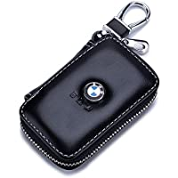 QZS Black Leather Car Key Case Coin Holder Zipper Remote Wallet Key Chain Bag for BMW