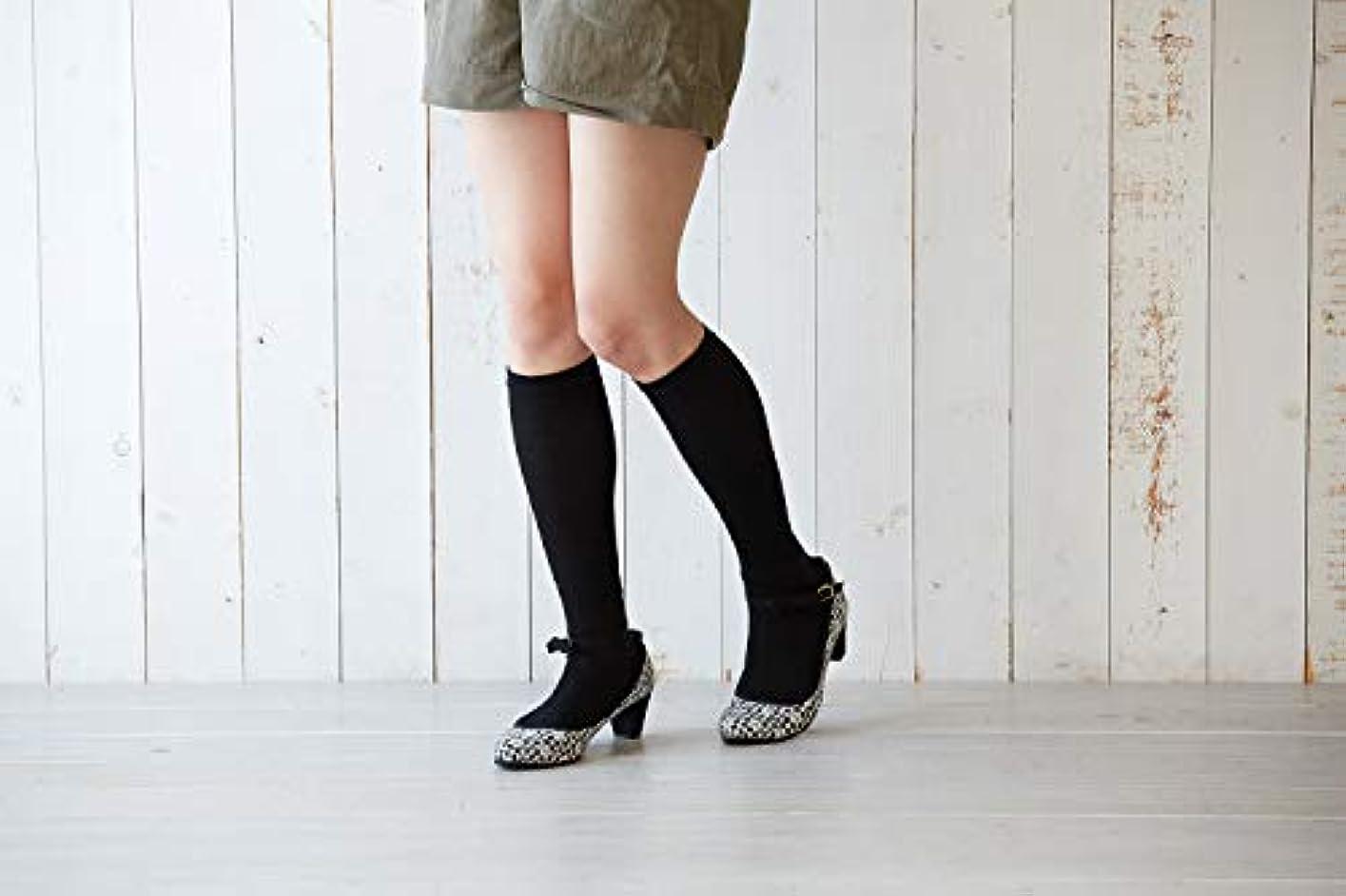 美脚 綿 着圧ソックス 薄手 23-25cm 3足組 足の疲れ むくみ 対策 太陽ニット N1013P (ブラック)