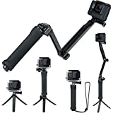 FitStill Waterproof 3 Way Tripod for GoPro Hero 7/6/5/4/3/2/1 Session and Other Action Cameras, Detachable Extendable Pole wi