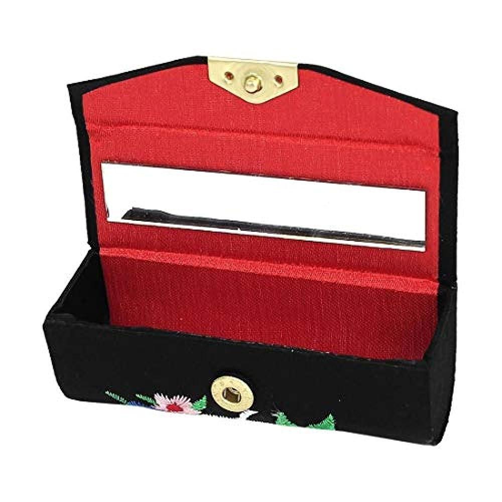アンティークワット結婚1st market プレミアム品質花刺繍レディー口紅リップチャップスティック化粧ケースボックスブラック