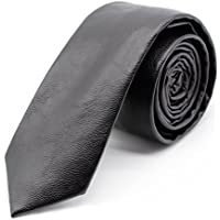 VE Pu Leather Necktie Solid Color Skinny Tie With Gift Box Handmade Causal Style For Men