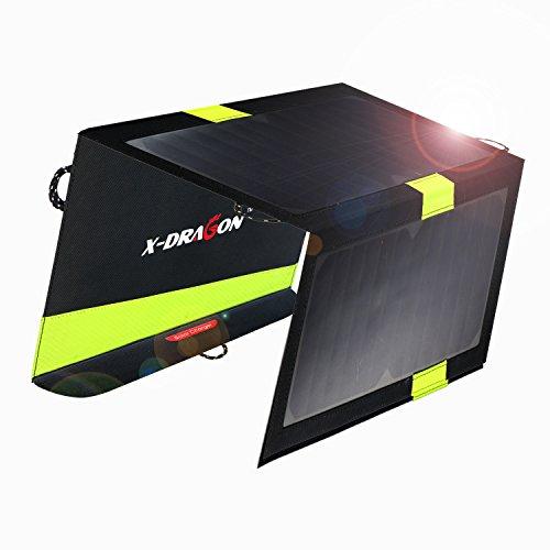 ソーラーチャージャー X-DRAGON 折りたたみ式 大容量 20W ソーラーパネル デュアルUSBポート iSolar機能搭載 モバイルバッテリー 防災 防水 非常用 スマホ用充電器 iPhone、ipad mini、iPod、Samsung、Androidデバイス対応 ソーラー充電器