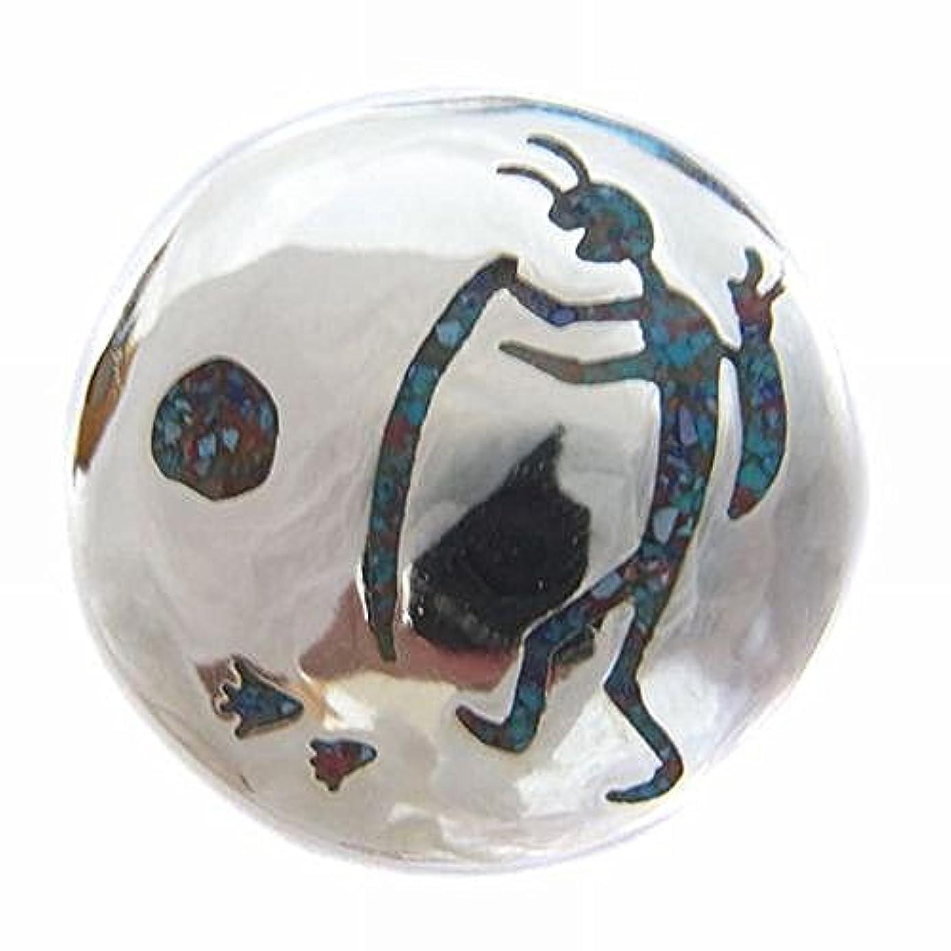 散るフランクワースリーバッテリーココペリ キリギリスの精霊 A柄 天然石 コンチョCONCHO ブラス製シルバーコーティング