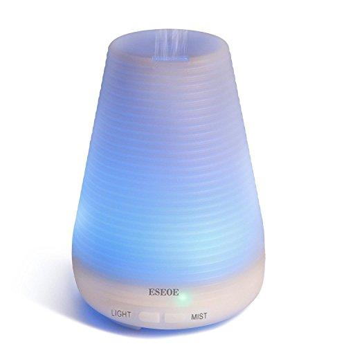 ESEOE 超音波式加湿器 アロマディフューザー 七色ムードランプ 空焚き防止 (100ml)