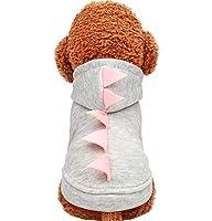 ペットの犬服、秋と冬の快適な暖かいショートジャケット、グレーの恐竜フード付きセーターファッション美しいペット服 (Size : M)