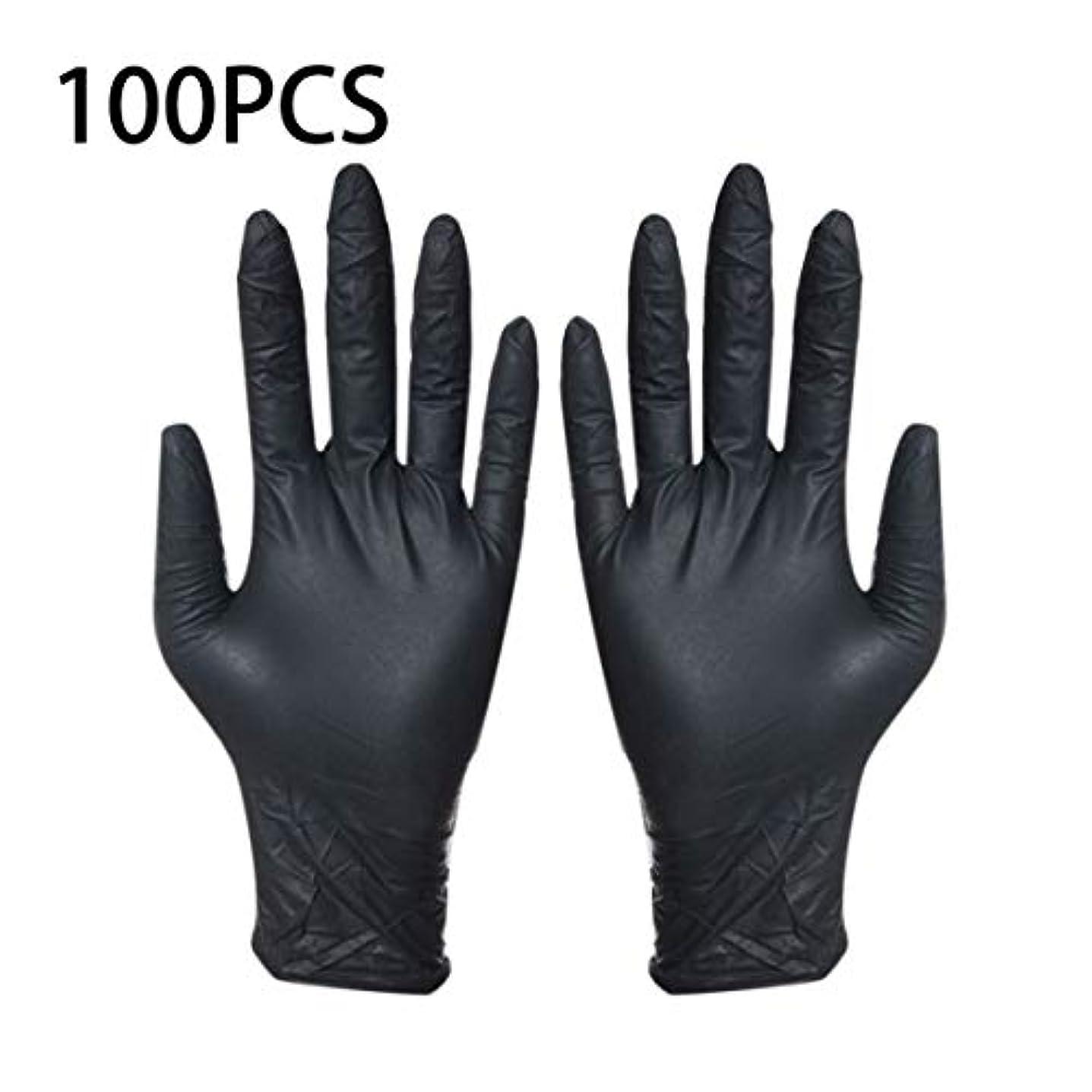 意志に反するぶどう低いintercorey保護具100ピース使い捨て黒手袋家庭用クリーニング手袋ニトリルラボネイルアート医療タトゥー帯電防止手袋
