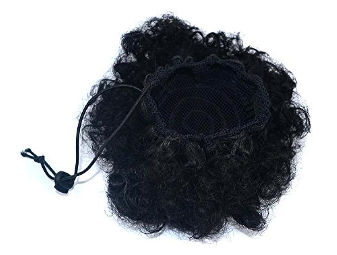 人工占める本部YOUQIU 女性おだんごヘア用サイズの選択ウィッグ?ピースのカーリーヘアウィッグキャタピラーの爆発的なヘッドふわふわおだんごヘアエクステンション (色 : Black(s))