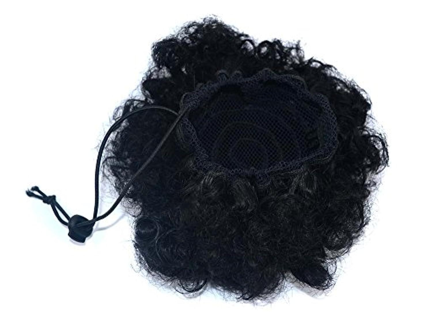 トンコントロール絶壁YOUQIU 女性おだんごヘア用サイズの選択ウィッグ?ピースのカーリーヘアウィッグキャタピラーの爆発的なヘッドふわふわおだんごヘアエクステンション (色 : Black(s))