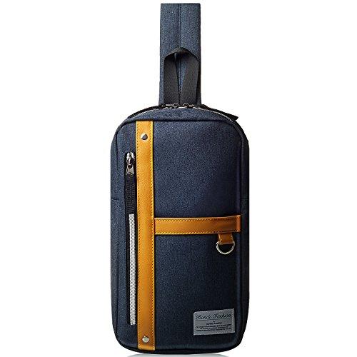 [ロンデ]斜めがけ ボディバッグ ワンショルダー iPadmini収納可 メンズ ネイビー