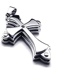 [テメゴ ジュエリー]TEMEGO Jewelry メンズステンレススチールヴィンテージペンダントゴシックスタックトライクロスネックレス、シルバー[インポート]