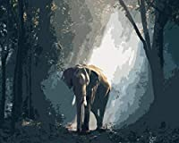 LovetheFamily 夜明けに森の象 数字キットによる絵画 数字油絵 数字キット塗り絵 手塗り DIY絵 デジタル油絵 ホーム オフィス装飾 40x50cm (フレームレス)
