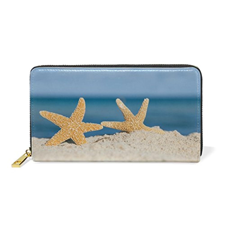 VAWA 財布 レディース 長財布 大容量 かわいい ヒトデ 海 おしゃれ きれい ファスナー財布 ウォレット 薄型 本革 型押し 小銭入れ プレゼント用