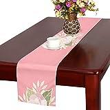 GGSXD テーブルランナー 美しい 椿の花 クロス 食卓カバー 麻綿製 欧米 おしゃれ 16 Inch X 72 Inch (40cm X 182cm) キッチン ダイニング ホーム デコレーション モダン リビング 洗える