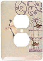 3drose LSP _ 151173_ 6ヴィンテージBirdiesと鳥ケージ2プラグコンセントカバー