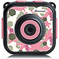 DROGRACE キッズカメラ IP68防水 1080P録画 1.77インチ 日本語説明書 迷彩柄 ピンク