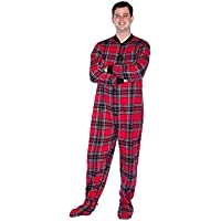 Red & Black Plaid Cotton Flannel Adult Footie Onesie Footed Pajamas with Drop seat for Men and Women
