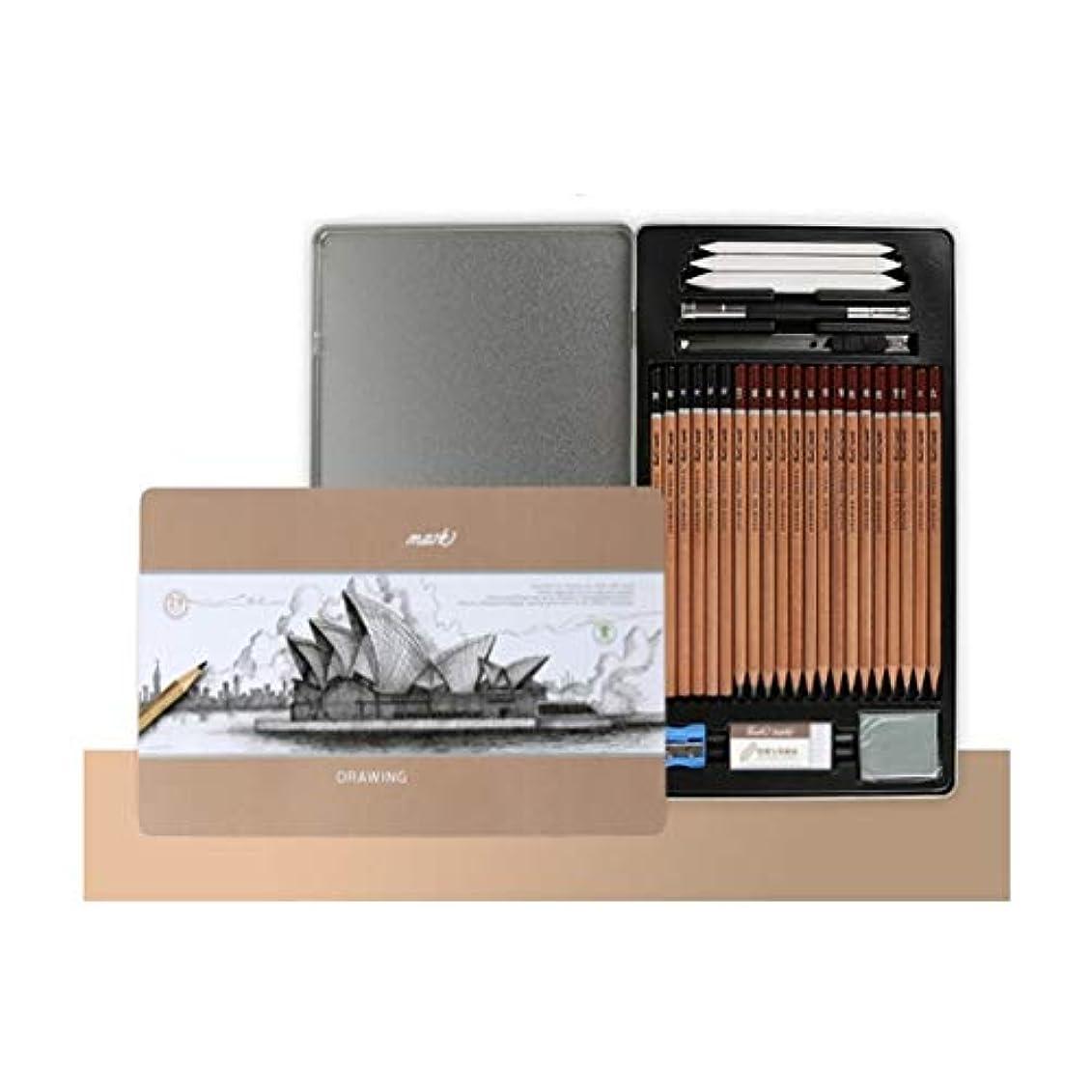 ディベートマーキーエゴマニアGaoxingbianlidian001 ペイントブラシ、木材軟化ペンイージーペンビングスケッチペンシルセット、学生手描きのプロフェッショナルアートスケッチペンシルセット(29ピース、ブラウン) 簡単で簡単 (Color : 29 pieces)