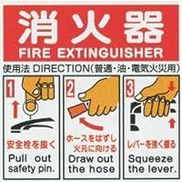「消火器」使用法標識 (英文入り)