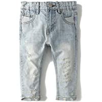 KidsCool Girls Ripped Holes Stretchy Stone Washed Soft Jeans