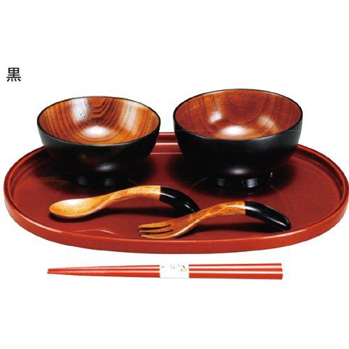 会津塗 うるし椀 お子様セット 【カラー:黒(908E-4)】