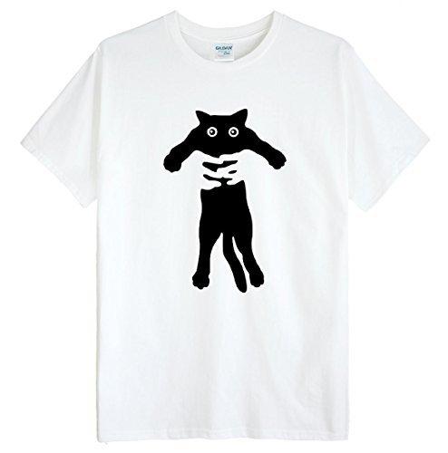 (ゴジラ千) GODZILLASENN メンズtシャツ ネコをつかまって 柄プリントTシャツ ホワイト M
