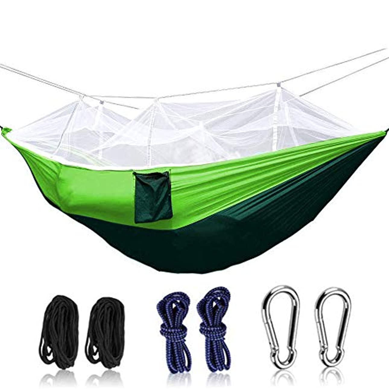 整理するガイドライン未就学ハンモック 蚊帳付き パラシュート折畳み可 持ち運び簡単270×140cm 優れた耐久性と安定性