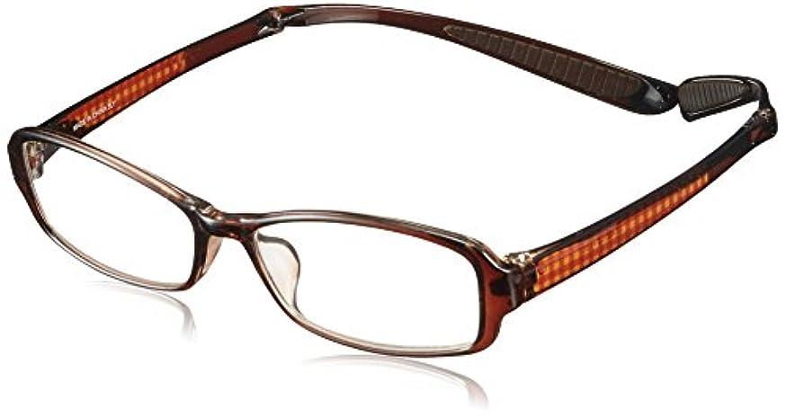 介入する解決するスリチンモイ折りたたみ首掛け老眼鏡 スクエアタイプ ブラウンチェック LT6501-2 +3.50