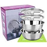 Ariye 3 in 1 Stainless Steel Drain Basket Vegetable Cutter (11 Inch), Kitchen Multipurpose Thicken Stainless Steel Mixing Bow