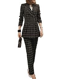 nijuh スーツ パンツスーツ チェック柄 テーラードジャケット ダブルボタン アンクルパンツ OL 仕事 入卒園 レディース