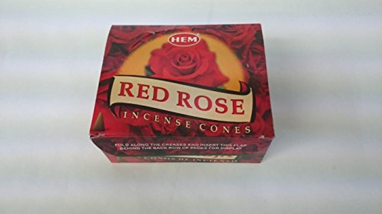 花火異なる恐ろしいですHEM(ヘム)お香 レッドローズ コーンタイプ 1ケース(10粒入り1箱×12箱)