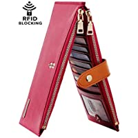 Chelmon Womens Genuine Leather Wallet RFID Blocking Credit Card Holder Zipper Purse