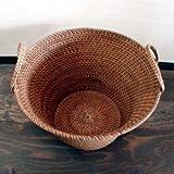 アジアン雑貨・バリ木彫り・バリウッド・baliwood:ラタンにアタを巻いたバスケット!ランドリーにも使えるサイズっす