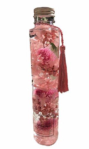 【Angelique】ハーバリウム ピンク 丸瓶 ロングボトル ピンクのタッセル付き ボトルサイズ直径45mm 高さ215mm Herbarium (ピンク)