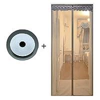 HUYYA 磁気カーテン ドア、ハンズフリー防虫網ドアフレンチドアのセルフシール磁気スクリーン,Gray_40x88in/100x220CM