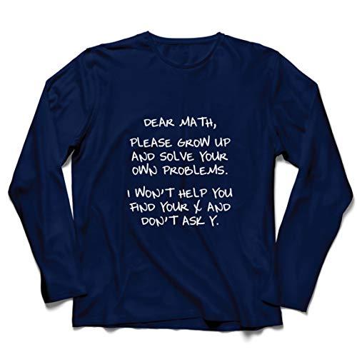 lepni.me 男性用長袖Tシャツ 面白い親愛なる数学代数ユーモアオタク数学恋人ギフト (XXL 青 多色)