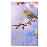 旅人 のれん 綿麻 カーテン 玄関 居酒屋 店の入り口 ポーチ 洗面所 台所用 さくら 桜の花 綺麗 幅86cm×丈143cm