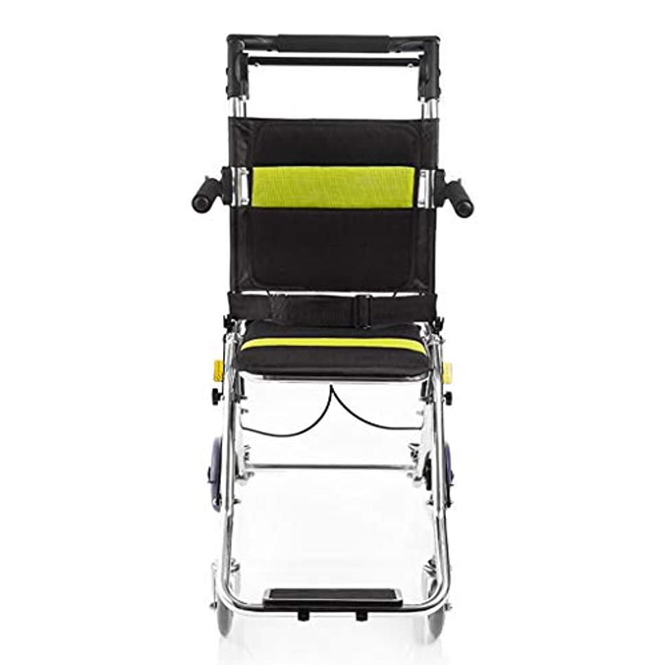 列車グリーンバック初心者折りたたみ車椅子、75 Kgの高齢者用屋外車椅子ベビーカーを運ぶことができます