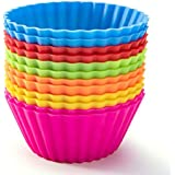 Silicone Baking Cups, SAWNZC Reusable Cupcake Liners Non-stick Muffin Cups Cake Molds Cupcake Holder, 12 Packs in 6 Rainbow C