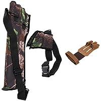 Dovewill 屋外 狩猟 革 3指グローブ 手袋 フィンガーガード 指 矢筒 矢印バッグ アローホルダー チューブ