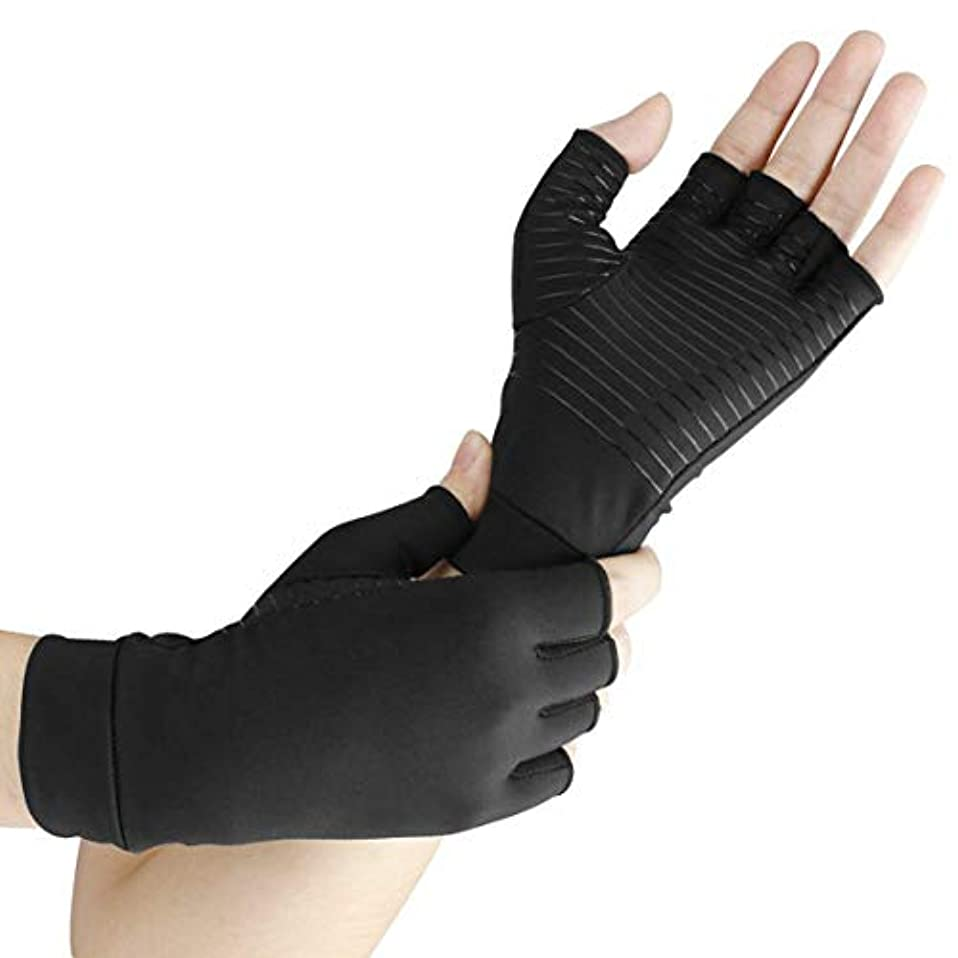 引く口頭ページェントIntercorey Copper Fiber Half Finger Joint Recovery Health Compression Gloves Wrist Tube Wrist Bracket Compression...