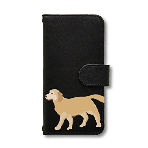 ゴールデンレトリバー (イラスト) スマホケース Android 手帳型 ブラック TORQUE G03 Fave フェイブ a0131C039-04X327 犬 ゴールデン レトリーバー ペット スマホカバー スマートフォン 携帯 スマホ ブック型