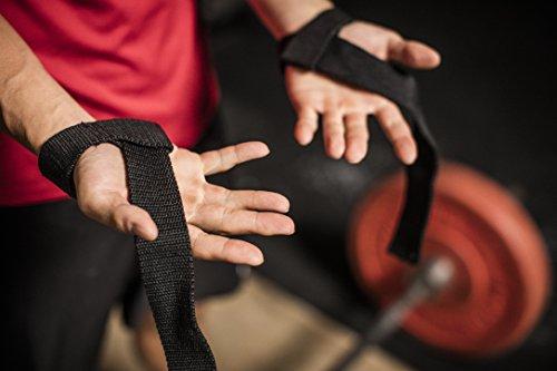 日本正規品 ハービンジャー Harbinger 男女兼用 トレーニング用ストラップ コットン リフティングストラップ パット付き フリーサイズ 幅3.8cm 長さ54.6cm ブラック 21300
